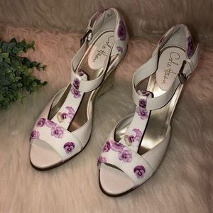 "COLE HAAN ""Zoe"" Ivory & Purple Pansy Wedge Sandals"